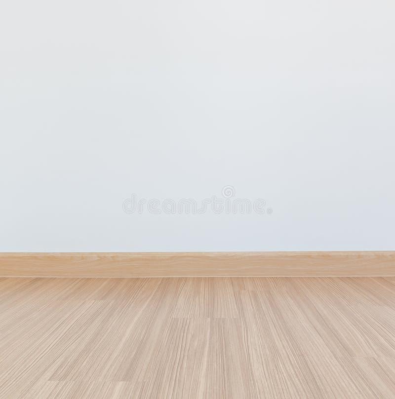 层压制品的地板和白色墙壁 免版税库存图片
