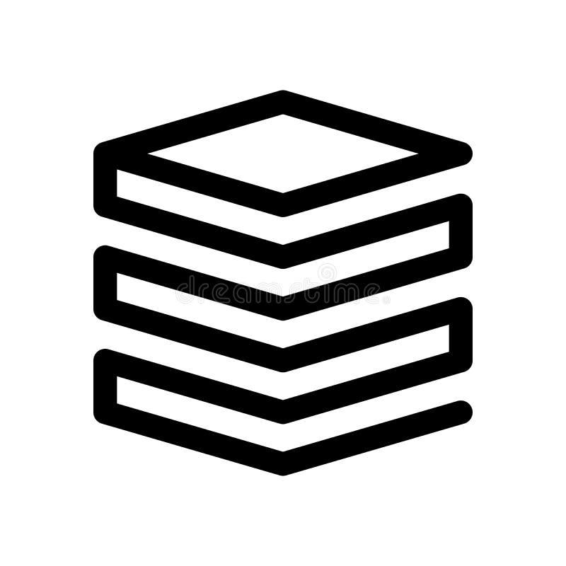 层数或堆纸象 概述现代设计元素 与圆角落的简单的黑平的传染媒介标志 库存例证
