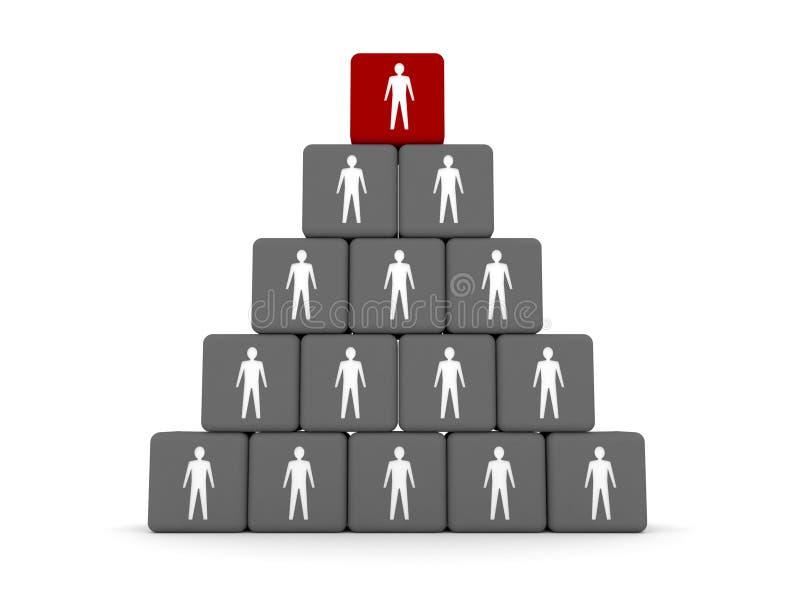 层次结构的概念。 在顶层的领导先锋。 库存例证