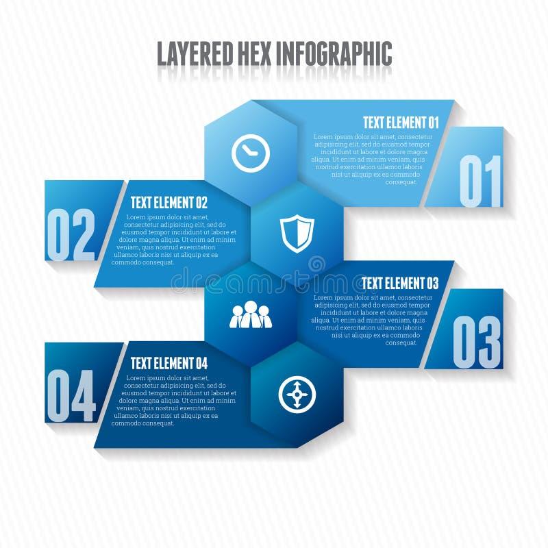 层状六角形的Infographic 向量例证