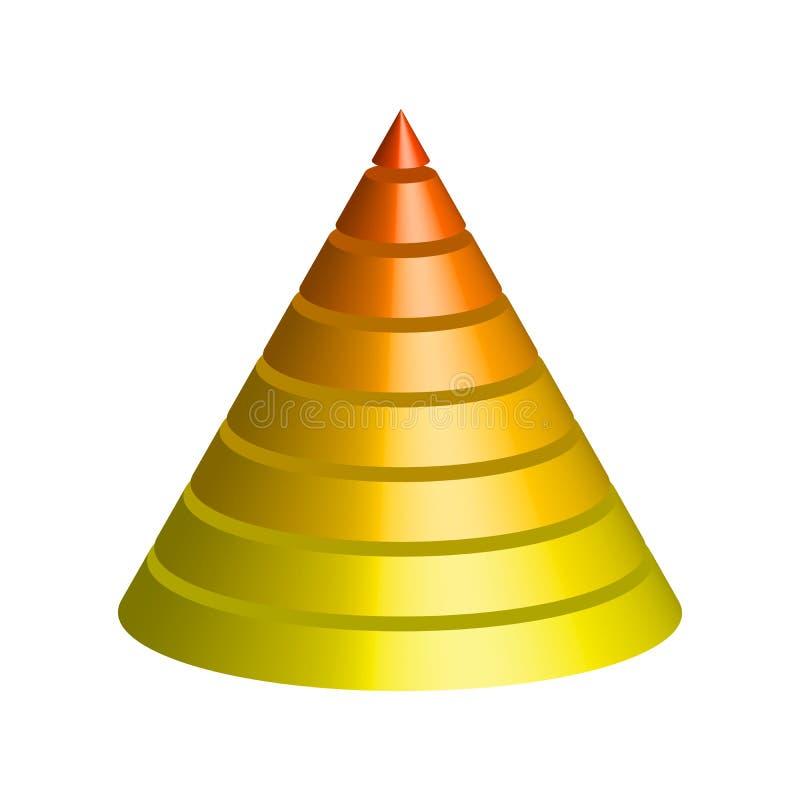 层状的锥体 3D 8多彩多姿的层圆锥形金字塔  也corel凹道例证向量 库存例证