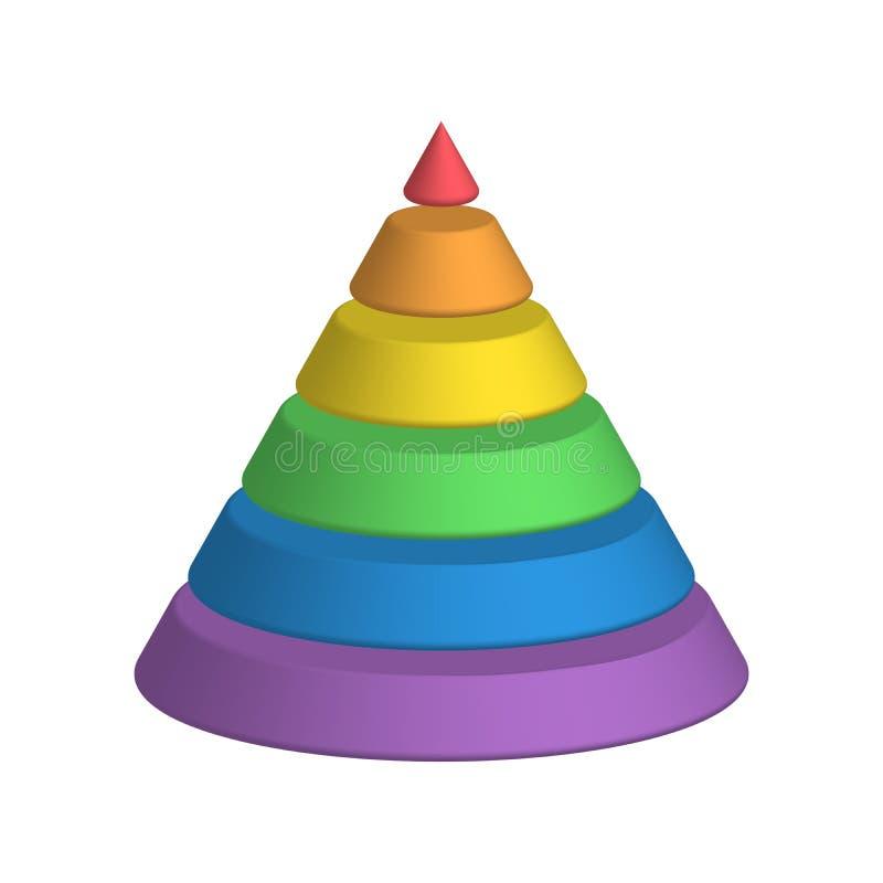 层状的锥体 3D 6多彩多姿的彩虹光谱圆锥形金字塔分层堆积 也corel凹道例证向量 库存例证