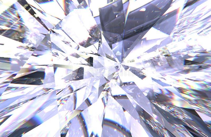 层状纹理三角金刚石或水晶形状背景 3d翻译模型 库存例证