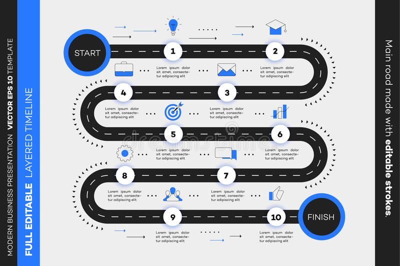 层状Infographic时间安排 传染媒介路线图,现代企业介绍的,年终报告,布局模板 库存照片