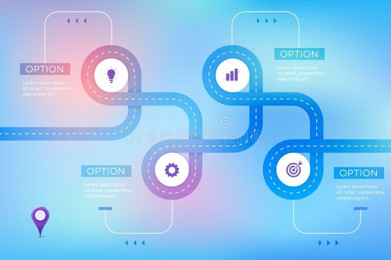 层状Infographic时间安排 传染媒介路线图,现代企业介绍的,年终报告,布局模板 向量例证