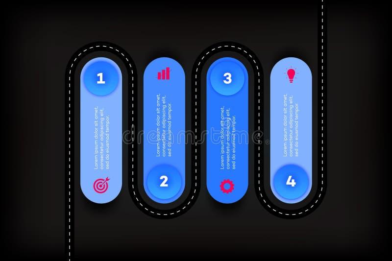 层状Infographic时间安排 传染媒介路线图,现代企业介绍的,年终报告,布局模板 皇族释放例证