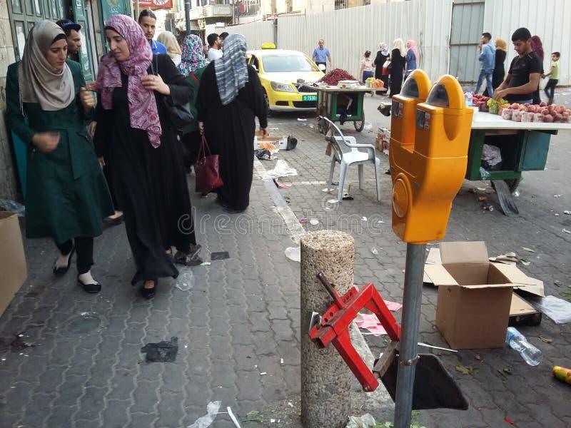 居住于的街道在Betlehem,巴勒斯坦 免版税库存图片