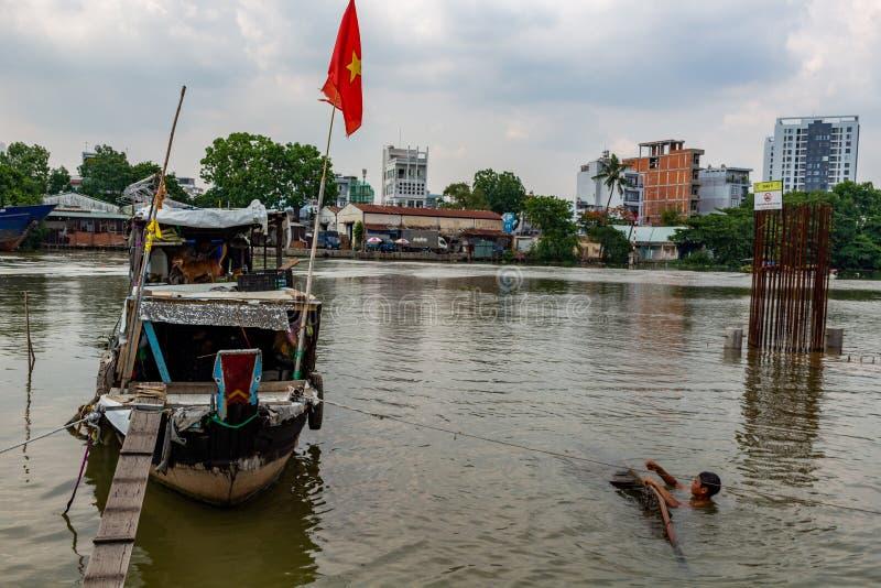 居住在小船西贡 图库摄影