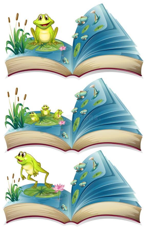 居住在池塘的青蛙书  皇族释放例证