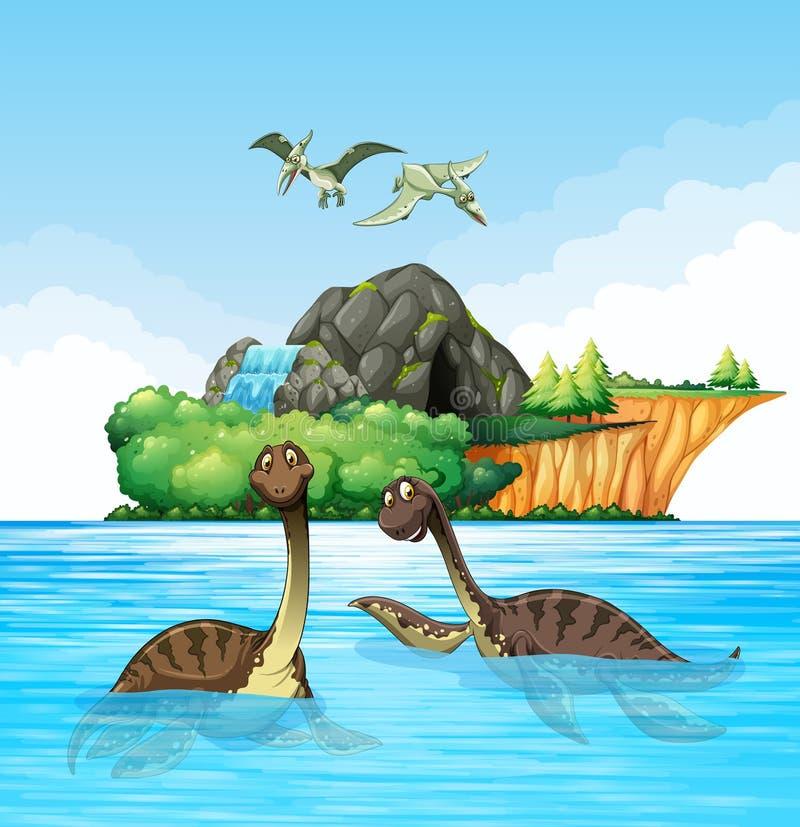 居住在海洋的恐龙 向量例证