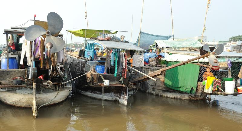 居住在湄公河 越南 免版税库存图片