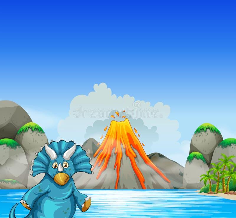 居住在湖旁边的恐龙 向量例证