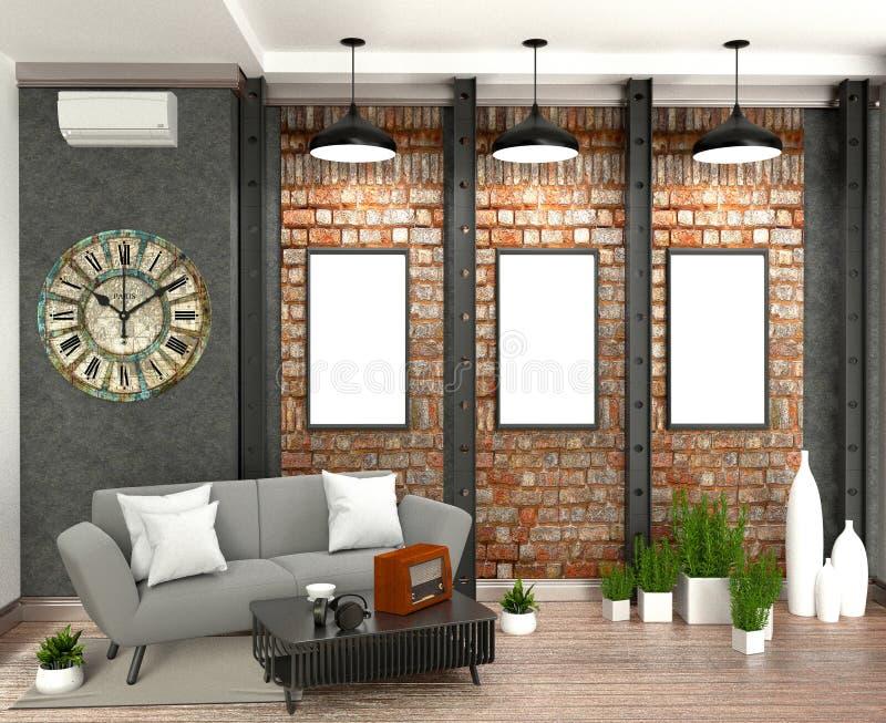 居住室内设计的现代顶楼样式的嘲笑 3d?? 库存例证