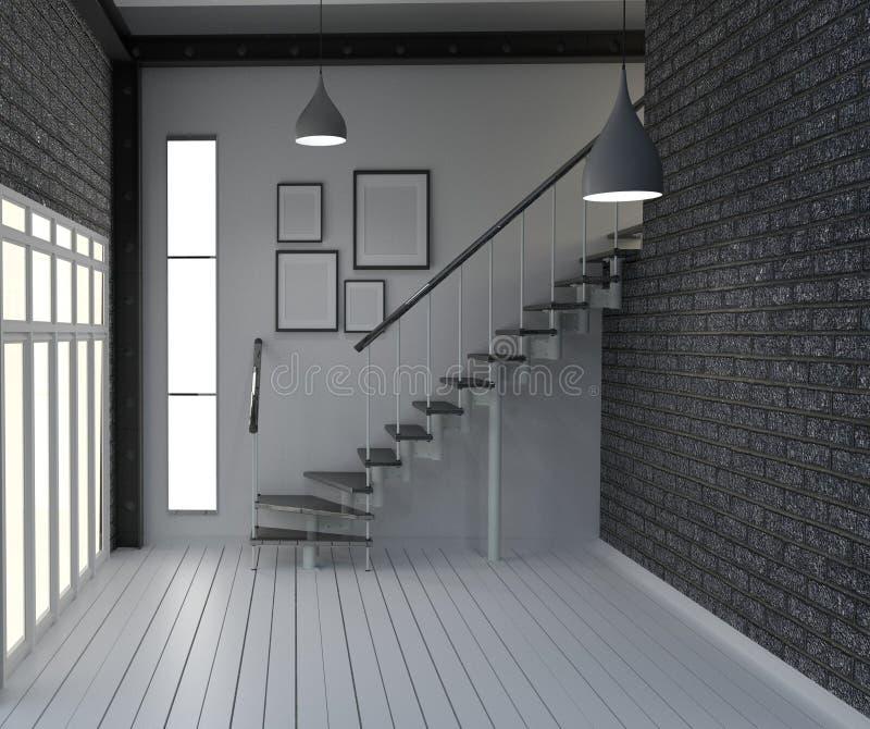 居住室内设计的空,现代顶楼样式 3d?? 向量例证