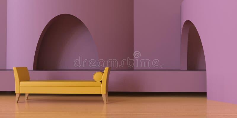 居住当代区域和紫色桃红色黑白照片豪华在木地板/现代建筑上 向量例证