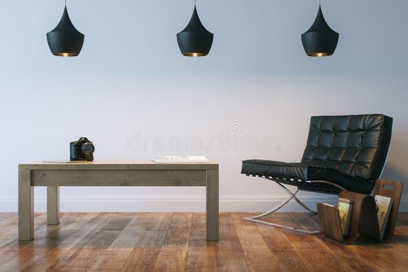 居住或有皮革Armhair和表的办公室内部室 免版税库存图片