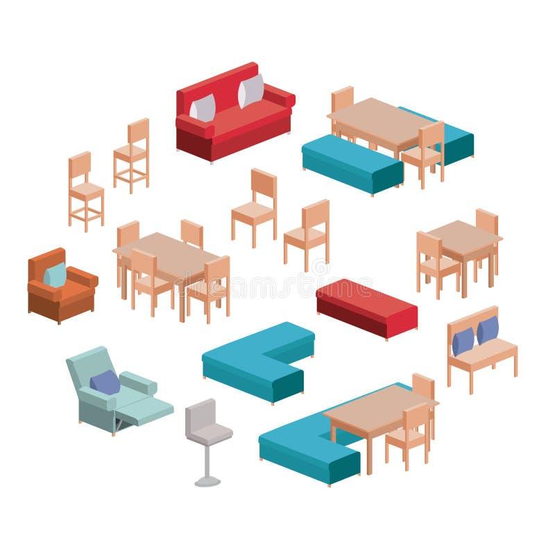 居住的和餐厅家具在白色背景的五颜六色的剪影设置了 向量例证