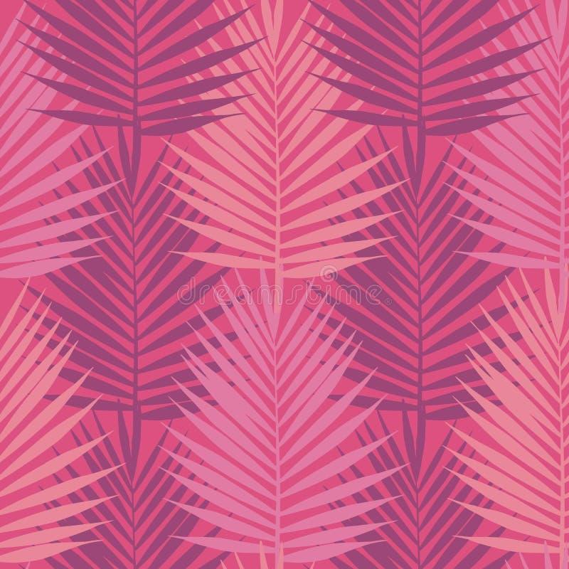 居住的珊瑚热带棕榈叶无缝的样式 向量例证