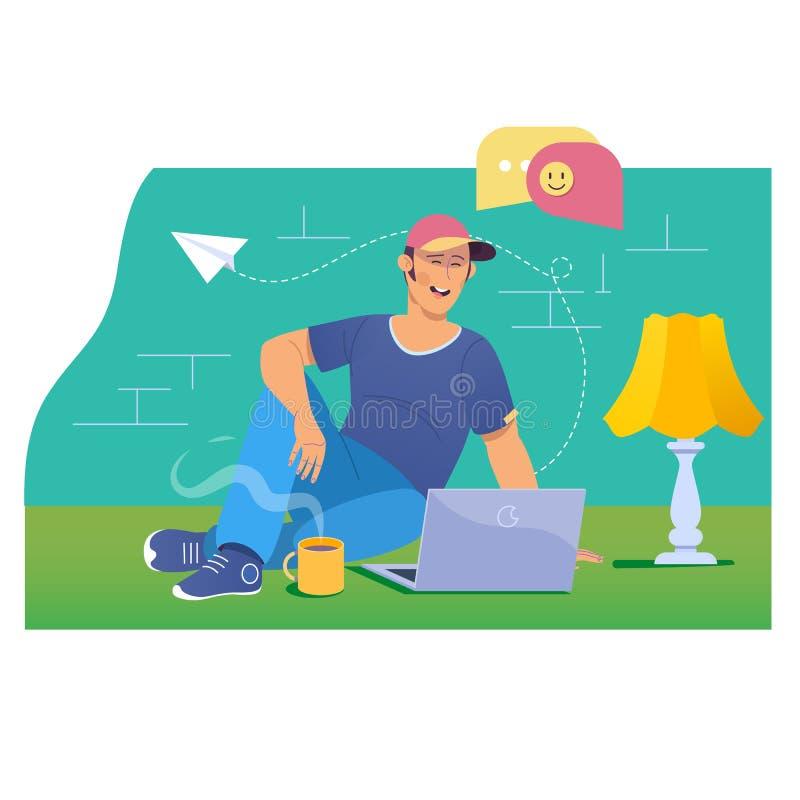 居住闲谈聊天的通信数字式网概念 网上约会和社会网络概念-聊天的少年  库存例证
