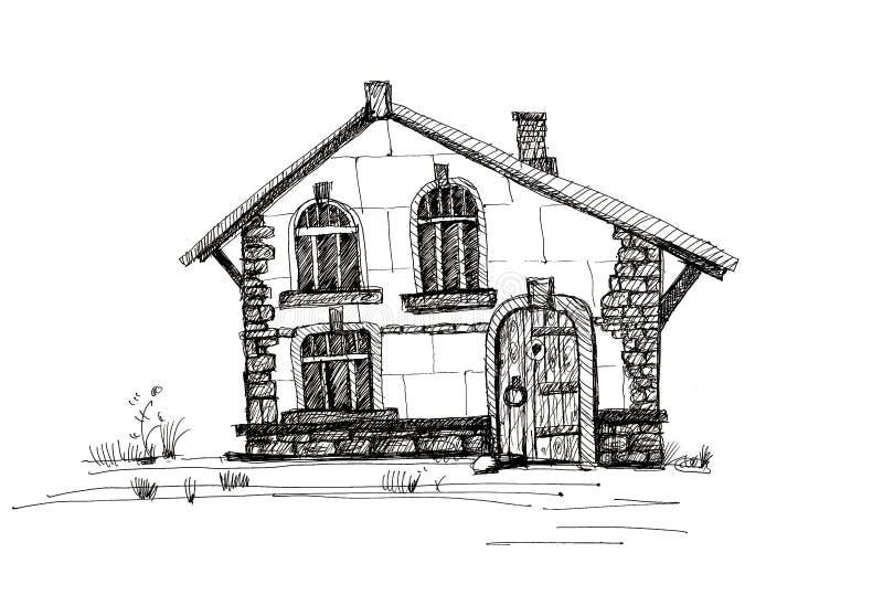 居民住房,在白色背景的墨水图画剪影  向量例证