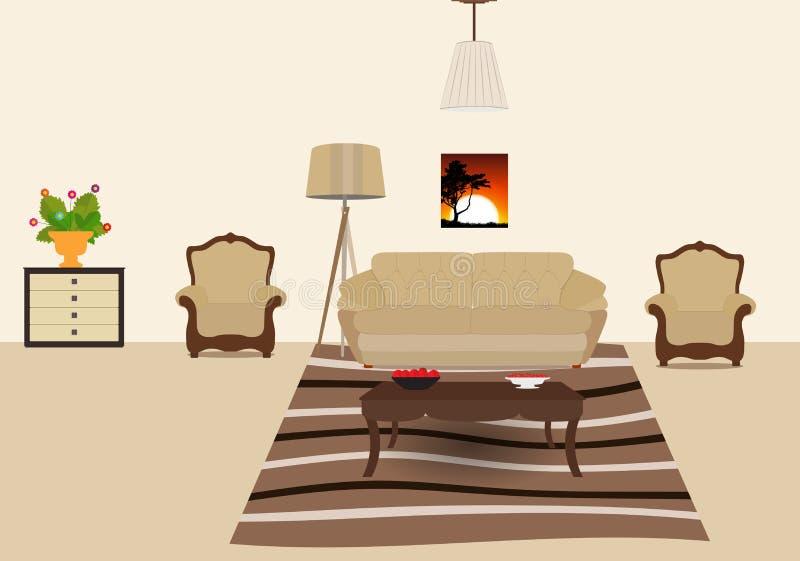 屋子装备与家具 现代平的样式传染媒介Illu 皇族释放例证