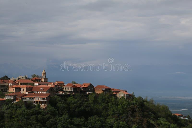 屋顶和城市Signagi的教会Alazany谷的 免版税库存照片