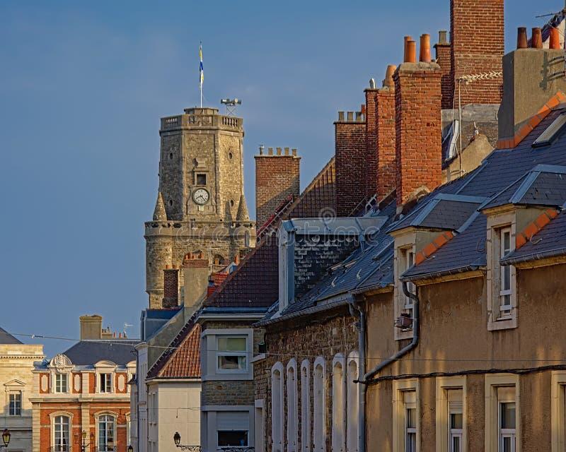 屋顶和布洛涅苏尔梅尔octogonal钟楼塔  库存图片