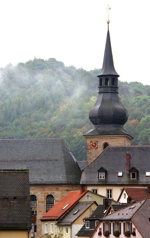 屋顶在老德国镇 库存照片
