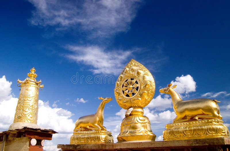 屋顶寺庙西藏 图库摄影