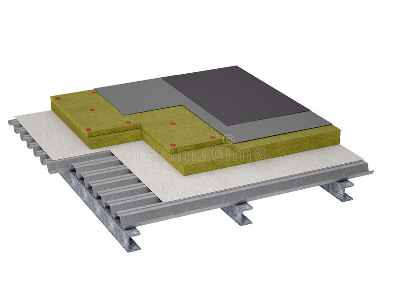 屋顶平台绝缘材料 库存例证