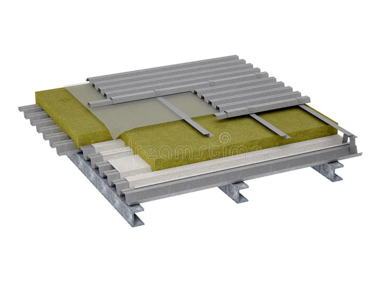 屋顶平台绝缘材料 向量例证