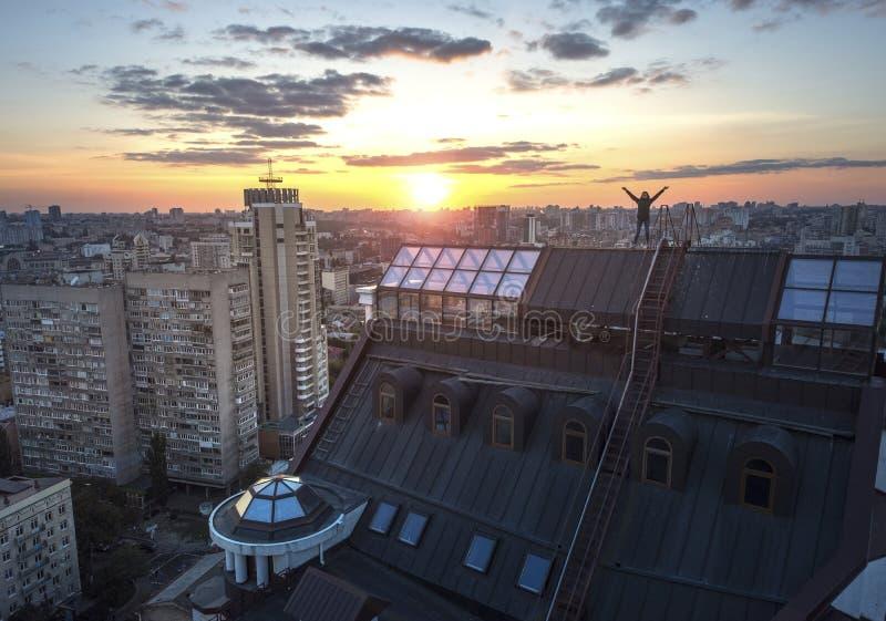 屋顶日落在基辅,乌克兰 库存图片