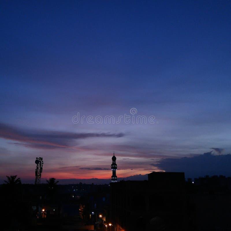 屋顶日落!!! 图库摄影