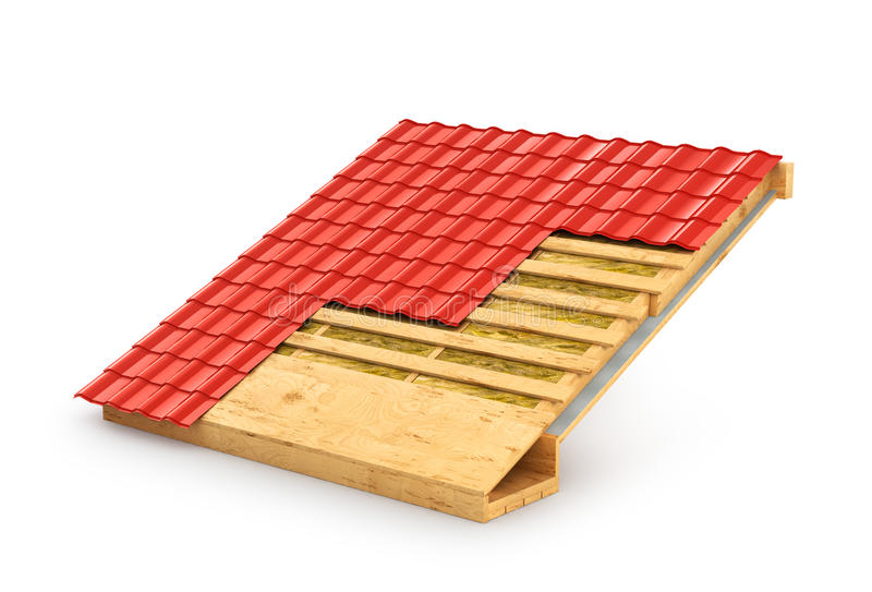 屋顶用术语 示范屋顶绝缘材料 库存例证