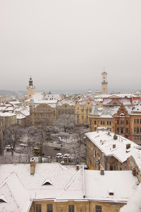 从屋顶的冬天利沃夫州,乌克兰 用雪盖的老镇大厦 适用于圣诞节新年卡片 神仙 库存图片