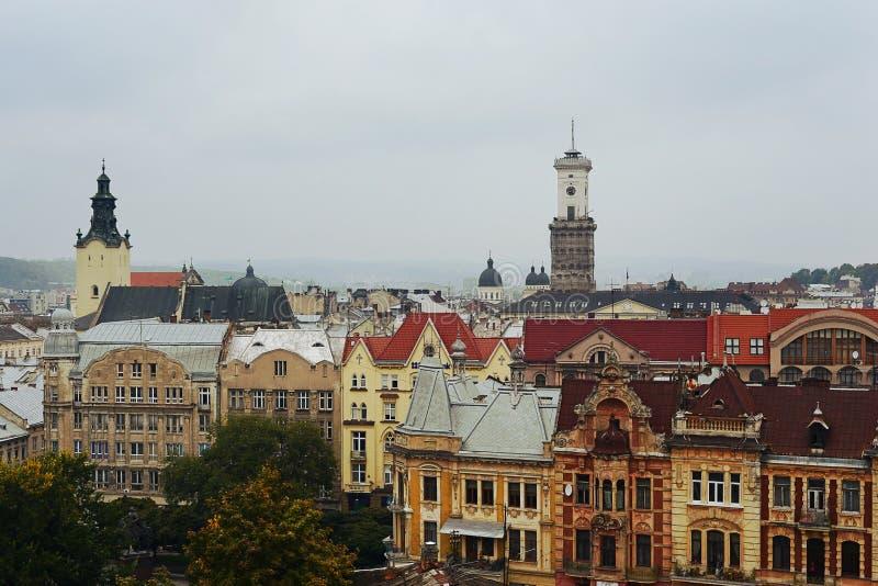 从屋顶的秋天利沃夫州,乌克兰 库存照片