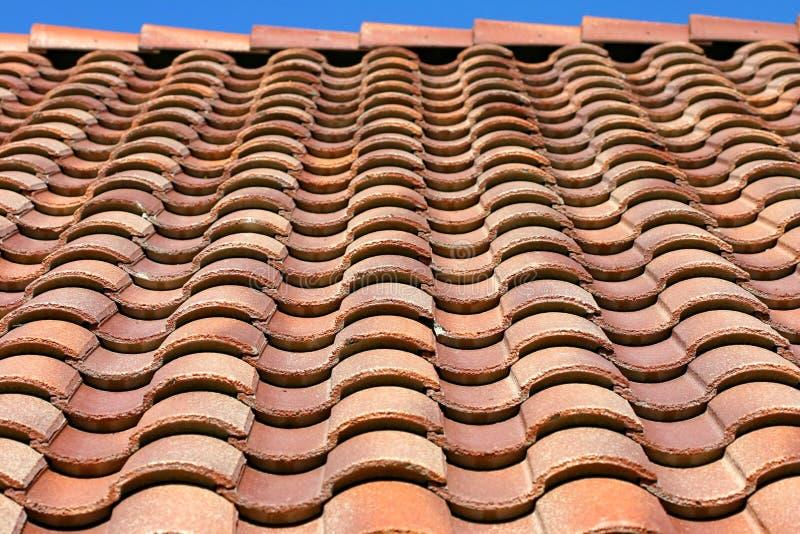 屋顶西班牙纹理瓦片 库存图片