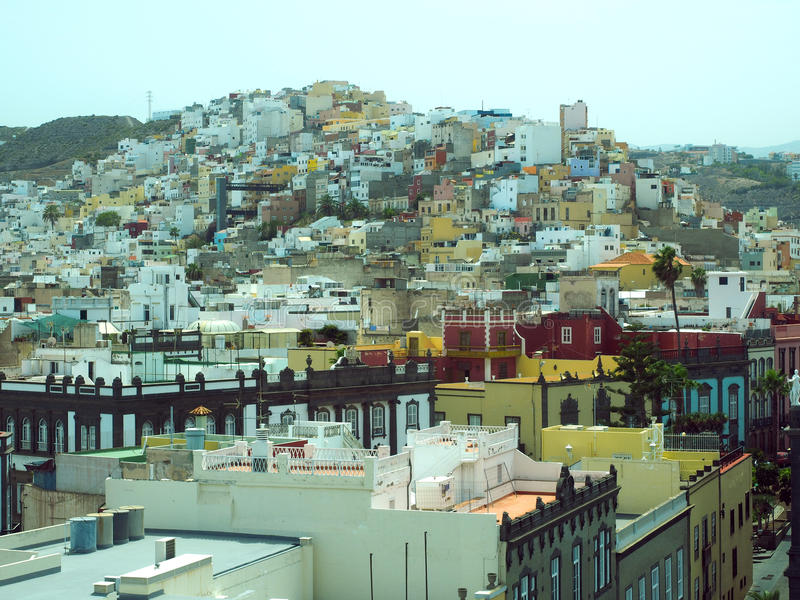 屋顶视图Vegueta盛大加那利群岛广场圣安娜镇Ha 库存照片