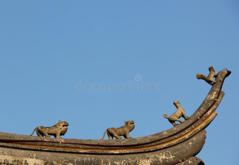 屋顶雕象 库存图片