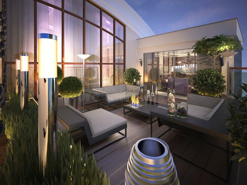 屋顶-在一个现代样式的大阳台 库存例证