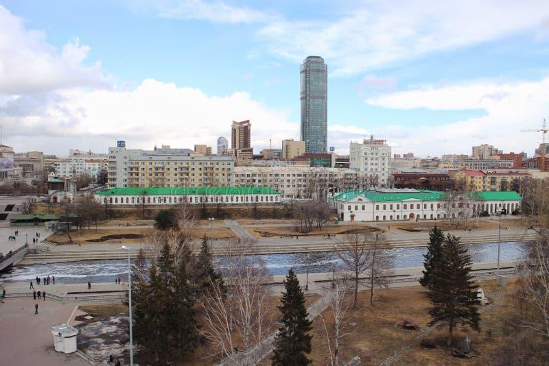 从屋顶Ekaterinburg的看法 库存图片