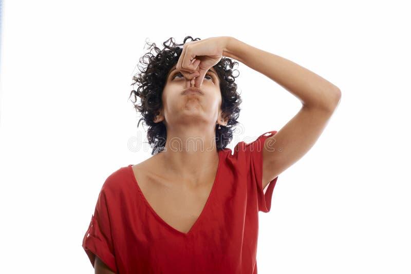 屏住呼吸的西班牙少妇 免版税图库摄影