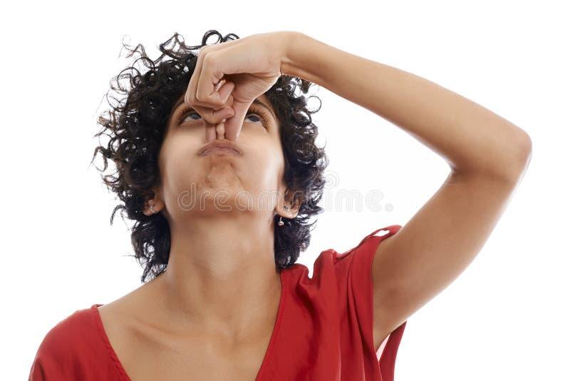 屏住呼吸的西班牙少妇 免版税库存照片