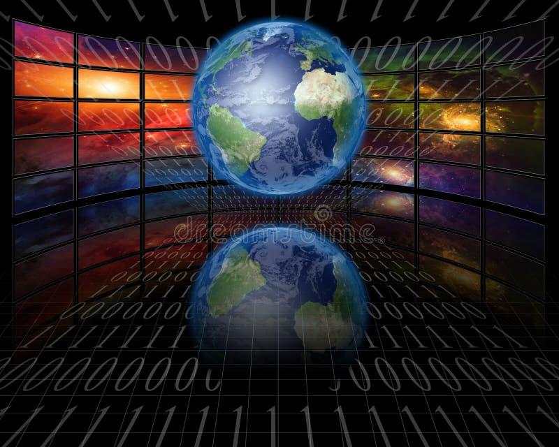 屏幕和二进制地球 皇族释放例证