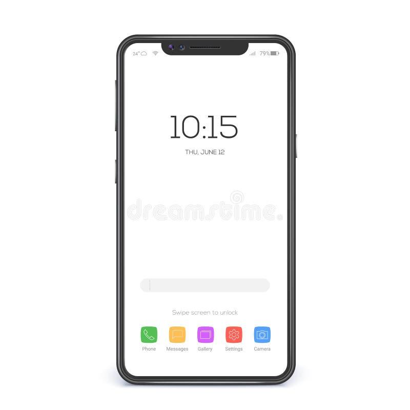 屏幕智能手机的概念有空白的接口的 接口的元素在被隔绝的屏幕象和按钮的  皇族释放例证