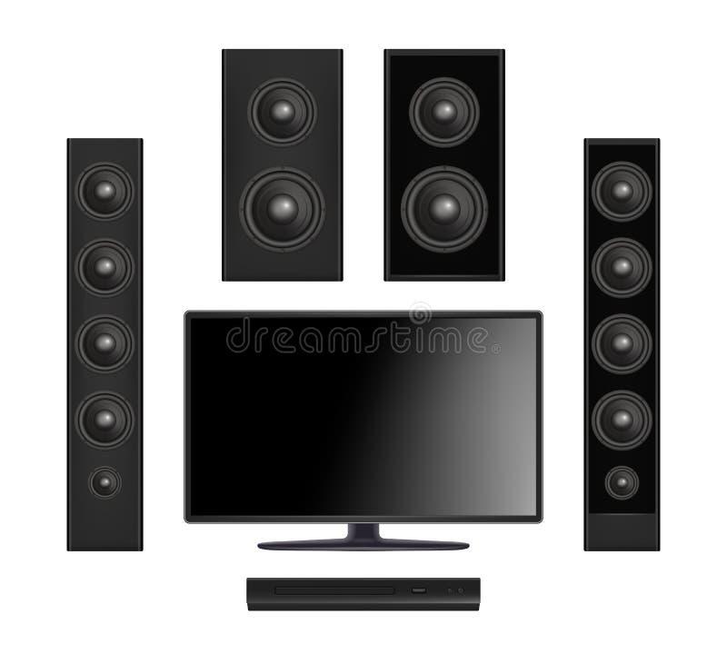 屏幕电视 平的与现实控制台和合理的报告人数字显示器的传染媒介的等离子多媒体录影系统 库存例证