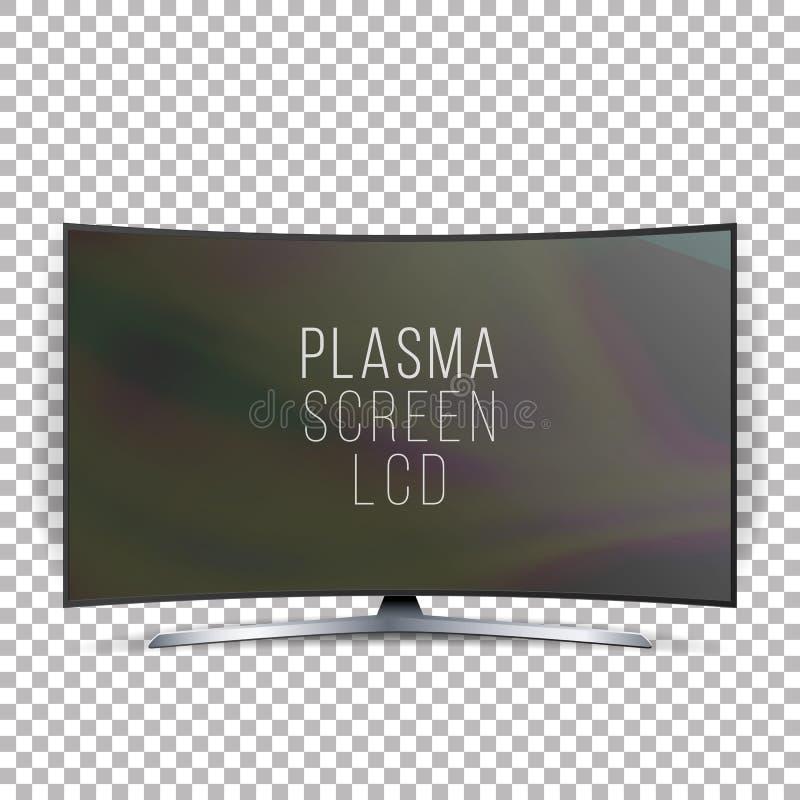 屏幕Lcd等离子传染媒介 在白色背景隔绝的弯曲的电视现代空白的被带领的屏幕盘区 可实现轻快优雅的例证 库存例证