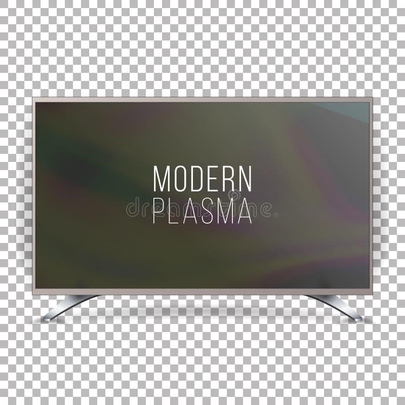 屏幕Lcd等离子传染媒介 现实平的聪明的电视 在方格的背景的弯曲的电视现代空白 向量例证