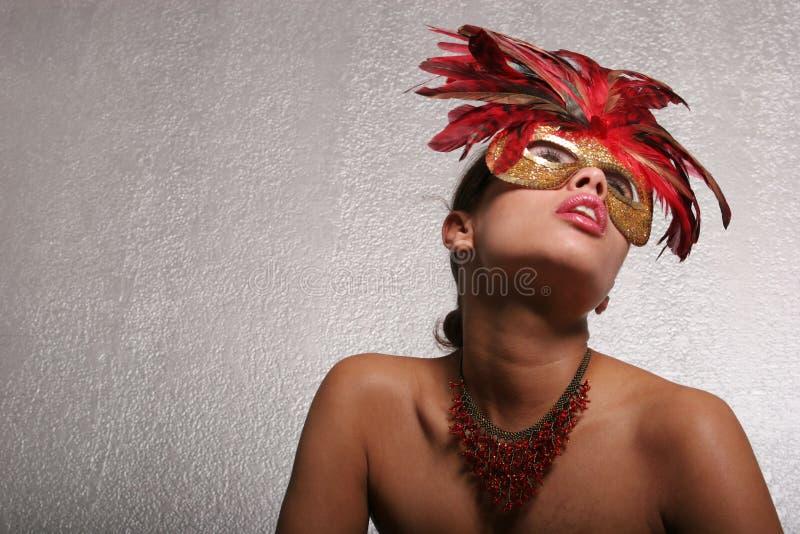 屏蔽性感的妇女 免版税库存照片