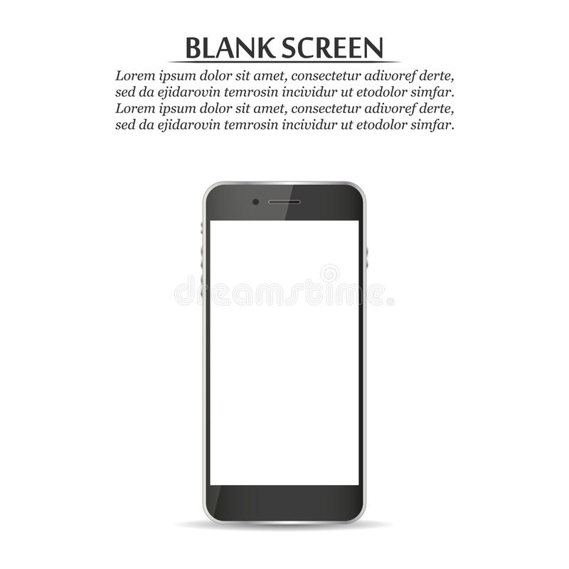 黑屏 在白色背景的黑智能手机 皇族释放例证